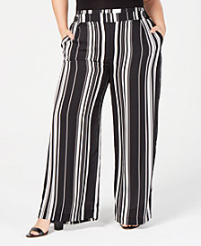 John Paul Richard Plus Size Striped Soft Pants