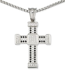 "Men's Crystal Cross 24"" Pendant Necklace in Stainless Steel"