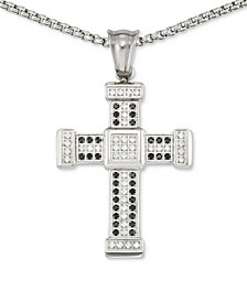 "LEGACY for MEN by Simone I. Smith Men's Crystal Cross 24"" Pendant Necklace in Stainless Steel"