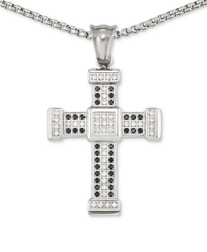 """LEGACY for MEN by Simone I. Smith - Men's Crystal Cross 24"""" Pendant Necklace in Stainless Steel"""