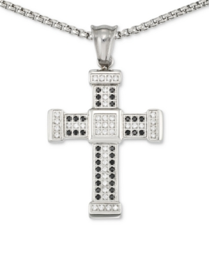 """Smith Men's Crystal Cross 24"""" Pendant Necklace in Stainless Steel"""