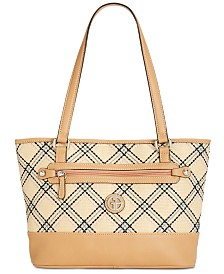 Giani Bernini Straw Plaid Tote, Created for Macy's
