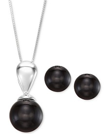 2-Pc. Set Onyx (10 & 12mm) Pendant Necklace and Matching Stud Earrings in Sterling Silver