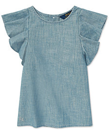 Polo Ralph Lauren Toddler Girls Chambray Flutter-Sleeve Cotton Top