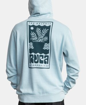 RVCA Men'S Graphic Hoodie in Dusty Blue