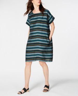 Printed Organic Linen Shift Dress, Regular & Petite in Teal
