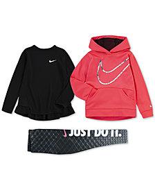 Nike Little Girls Therma-FIT Logo-Print Hoodie, Peplum Top & Printed Leggings
