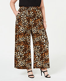 Monteau Trendy Plus Size Animal-Print Paperbag Pants