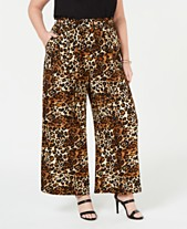 4a504a6ff15 Monteau Trendy Plus Size Animal-Print Paperbag Pants
