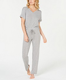 Ribbed Knit Top & Pajama Pants Sleep Separates, Created for Macy's