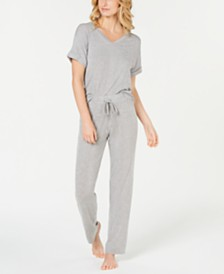 Alfani Ribbed Knit Top & Pajama Pants Sleep Separates, Created for Macy's