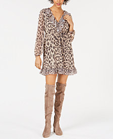 Bar III Ruffled Leopard-Print Dress, Created for Macy's