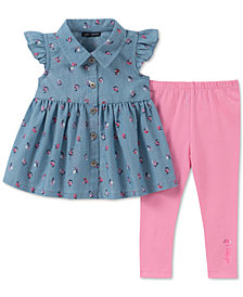 Tommy Hilfiger Baby Girls 2-Pc. Printed Denim Tunic & Leggings Set