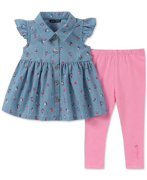 a65a5f782 Tommy Hilfiger Baby Girls 2-Pc. Printed Denim Tunic & Leggings Set ...