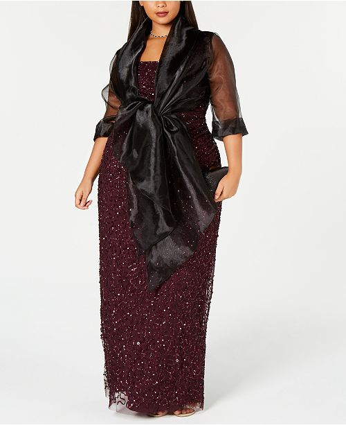 255805f4be6 Adrianna Papell Plus Size Evening Wrap Jacket   Reviews - Dresses ...