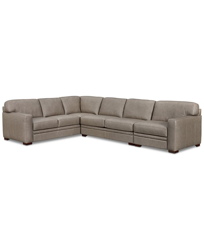 Furniture - 3-Piece Leather Sectional with Chair