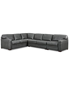 Avenell 3-Piece Leather Sectional with Chair
