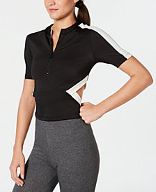 Puma Classics Ribbed Cut-Out Half-Zip Cropped Top