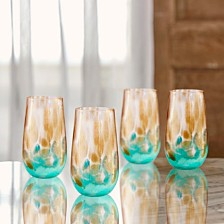 Jay Imports Simone Teal/Gold Set of 4 Hiball Glasses