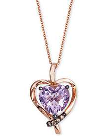 "Le Vian® Pink Amethyst (2-1/10 ct. t.w.) & Diamond Accent Heart 18"" Pendant Necklace in 14k Rose Gold"