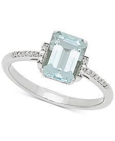 Aquamarine (1-3/8 ct. t.w.) & Diamond Accent Ring in 14k White Gold