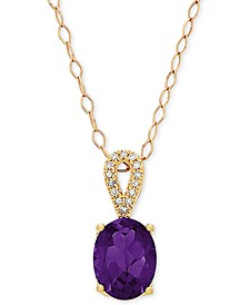 "Amethyst (1-5/8 ct. t.w.) & Diamond Accent 18"" Pendant Necklace in 14k Gold"