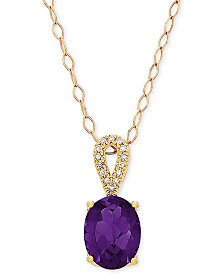 """Blue Topaz (2-1/5 ct. t.w.) & Diamond Accent 18"""" Pendant Necklace in 14k Rose Gold (Also Available in Amethyst)"""