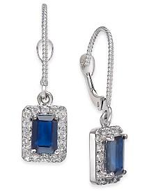 Sapphire (1-1/3 ct. t.w.) & Diamond (1/3 ct. t.w.) Drop Earrings in 14k White Gold
