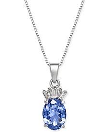 """Tanzanite (1-3/8 ct. t.w.) & Diamond Accent 18"""" Pendant Necklace in 14k White Gold"""