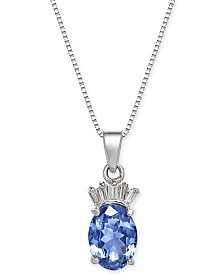 "Tanzanite (1-3/8 ct. t.w.) & Diamond Accent 18"" Pendant Necklace in 14k White Gold"
