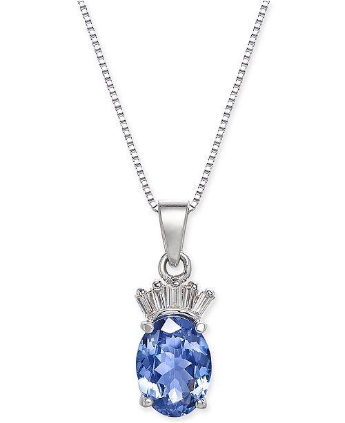 """Macy's Tanzanite (1-3/8 ct. t.w.) & Diamond Accent 18"""" Pendant Necklace in 14k White Gold"""