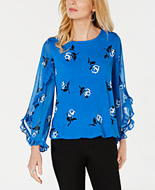 Alfani Printed Ruffle-Sleeve Top, Created for Macy's