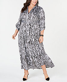 I.N.C. Plus Size Bell-Sleeve V-Neck Dress, Created for Macy's