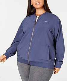 Plus Size Casual Full Zip Water-Repellent Bomber Jacket