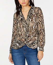 I.N.C. Petite Twisted Snake-Embossed Top, Created for Macy's