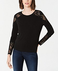 INC Lace-Detail Long-Sleeve Top, Created for Macy's