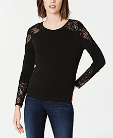 I.N.C. Lace-Detail Long-Sleeve Top, Created for Macy's
