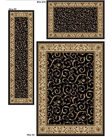 Kenneth Mink Area Rug Set, Roma Collection 3 Piece Set Damask Black