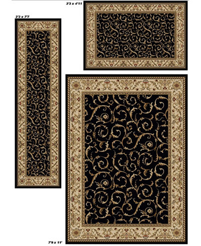 Closeout Area Rug Set Roma Collection 3 Pc Damask Black