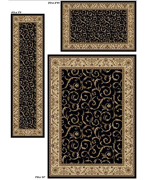 Km Home Closeout Roma Damask Black 3 Pc Rug Set Amp Reviews