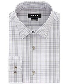 DKNY Men's Classic/Regular Fit Stretch Purple Check Dress Shirt
