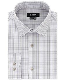 DKNY Men's Classic/Regular Fit Stretch Purple Check Dress Shirt