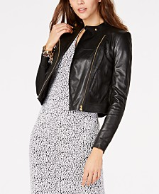 Michael Michael Kors Leather Moto Jacket, Regular & Petite Sizes