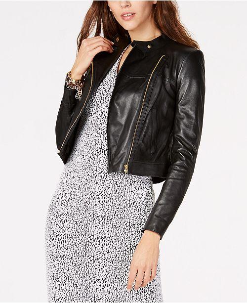 Michael Kors Leather Moto Jacket in Regular & Petite Sizes