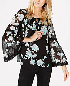 I.N.C. Petite Bell-Sleeve Printed Blouse, Created for Macy's