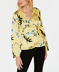 I.N.C. Petite Volume-Sleeve Wrap Blouse, Created for Macy's
