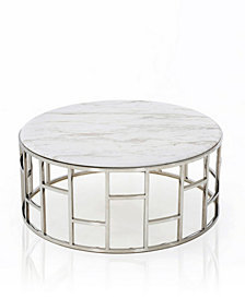 Modrest Silvan Modern Marble and Stainless Steel Coffee Table