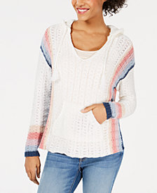 American Rag Juniors' Striped Baja Hoodie Sweater, Created for Macy's