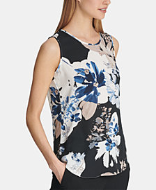 DKNY Floral-Print Shell, Created for Macy's