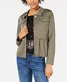 American Rag Juniors' Cargo Peplum Jacket, Created for Macy's
